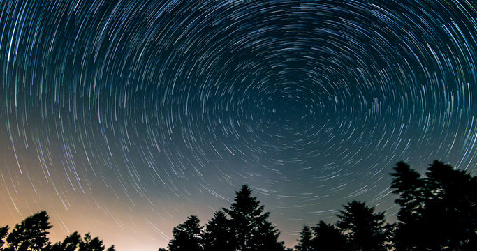 Star trails over the night sky - comet mode, Time lapse of star trail, pine trees in the foreground, Avala, Belgrade, Serbia. The night sky is astronomically accurate.