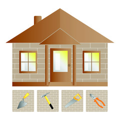 Illustration of house and building tools