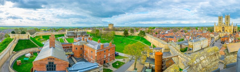 Panorama of Lincoln castle and cathedral, England Wall mural