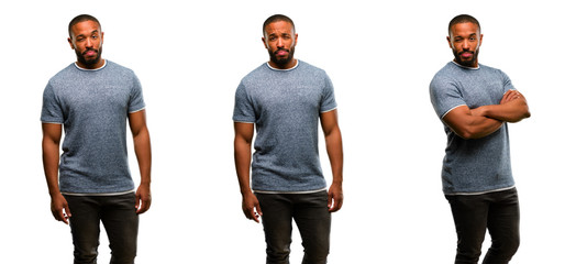 African american man with beard irritated and angry expressing negative emotion, annoyed with someone