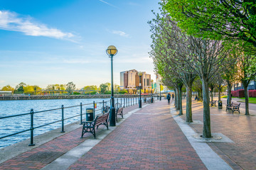 View of a promenade next to Irwell river in Salford, England Wall mural
