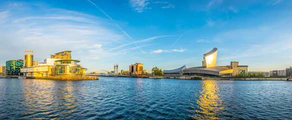 Imperial war museum North and the lowry theater in Manchesterduring sunset, England Wall mural