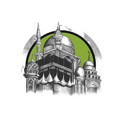 Eid Mubarak celebration- Mosque. Hand Draw Sketch Vector illustration.