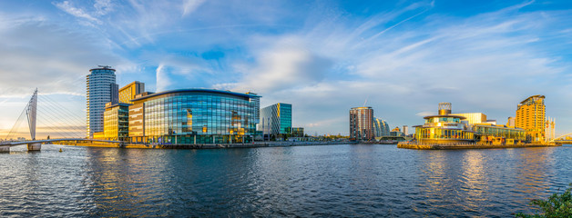View of the Lowry theater and the mediacity UK in Manchester, England Wall mural