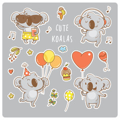 Set  with cute cartoon koalas stickers. Vector contour  image. Little funny baby animals on party. Children's illustration.