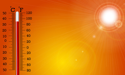 Very hot sun and thermometer Wall mural