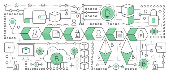 Bitcoin, cryptocurrency and blockchain technology. Blockchain global network transaction chain. Flat line vector illustration.