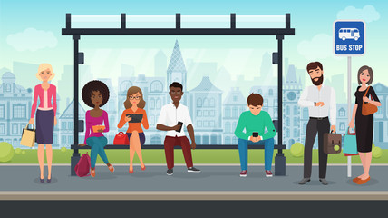 People were sitting at the modern bus stop. Vector illustration.