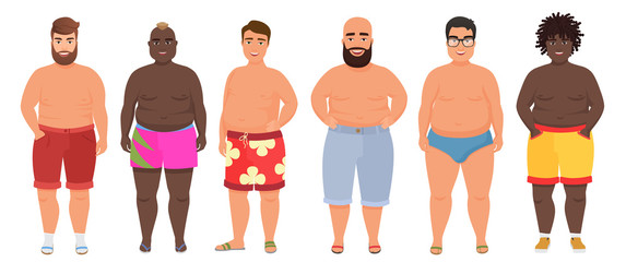 Cartoon vector funny fat man in underwear, bathing suit. Male swimsuits.