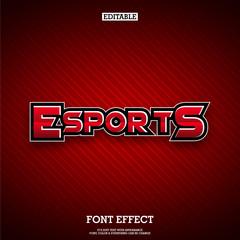 Editable Red Esports Text Logo & tittle Design