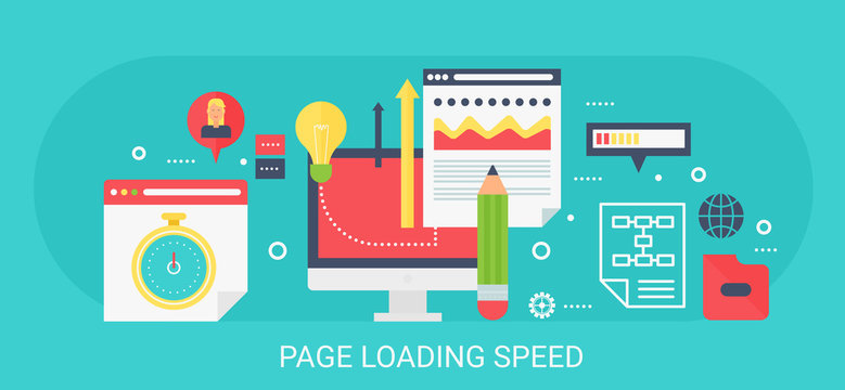 Flat modern vector concept Page loading speed banner with icons and text.
