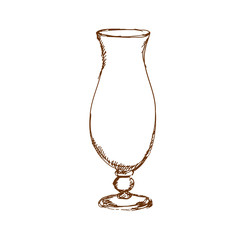 Hand drawn empty hurricane cocktail glass. Sketch, vector illustration.