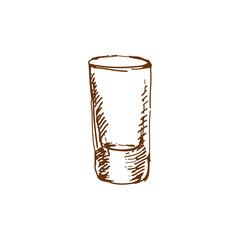 Hand drawn shot glass. Sketch, vector illustration.