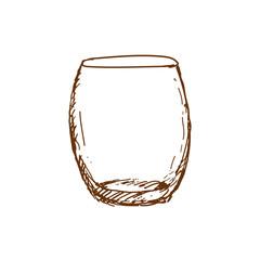 Hand drawn rocks glass, empty whisky glass. Sketch, vector illustration.