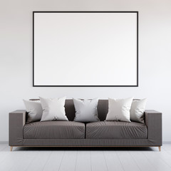Mockup poster in the interior with leather sofa, 3D render