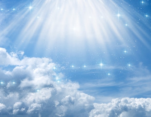 divine, mystical, angelic blue background with cloudy sky, rays of light and stars