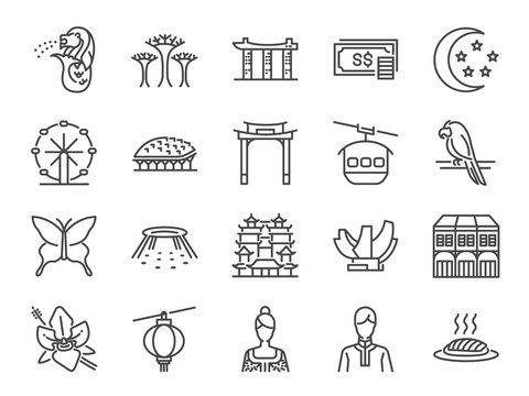 Singapore trip icon set. Included the icons as Merlion, Singapore flyer, Esplanade, Botanic gardens, Butterfly garden, casino, hotel, marina bay and more