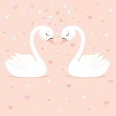 Cute swans on pink background. Children's card or shirt design.