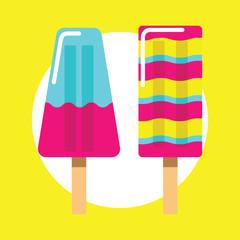 Colorful ice cream vector icon on yellow background. Summer ice cream eskimo on stick vector illustration.