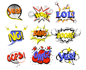 Vector illustration set of retro comic speech bubbles in bright colors on white background. LOL, NO, WOW, YES, SALE, BOOM, oops pop art.