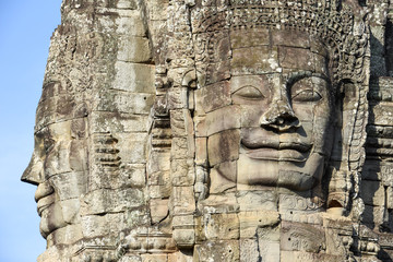 Faces of Bayon temple in Angkor Thom at Siemreap, Cambodia.