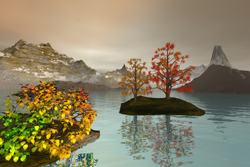 Afternoon view on the lake, an autumn landscape, snowy mountains, trees with red and yellow leaves and a coudy sky.