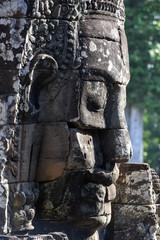 Closeup stone face of prasat Bayon temple, Angkor Thom, Cambodia