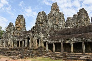 Faces of Bayon temple in Angkor Thom at Siemreap, Cambodia.