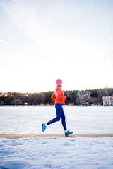 Picture of sports girl on morning exercise in winter
