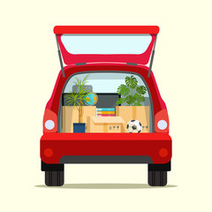 Moving with boxes. Things in box in the trunk of the car on the back. Vector flat style illustration