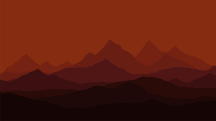 Silhouette of evening mountain landscape under night red dramatic sky