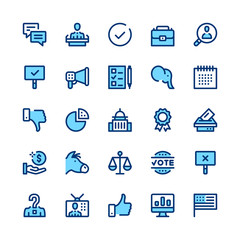 Politics and elections line icons set. Modern graphic design concepts, simple symbols, elements, pictograms collection. Minimal thin line design. Premium quality. Pixel perfect. Vector outline icons