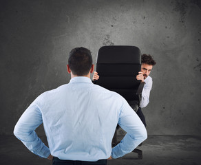 Businessman is afraid of his boss