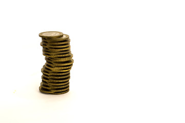 stacked coins, money, financial management, business, pyramid of coins on white background