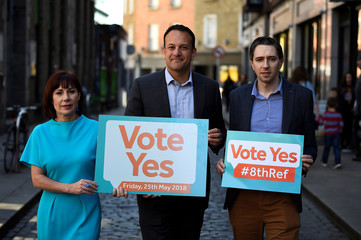 Minister Josepha Madigan, Taoiseach Leo Varadkar and Minister for Health Simon Harris pose at a Fine Gael party event pressing for a 'Yes' vote in the upcoming May 25th referendum on abortion law, in Dublin