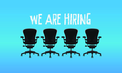 We are hiring job recruitment four vector chair on blue background