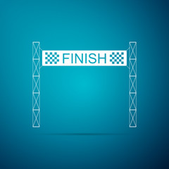 Ribbon in finishing line icon isolated on blue background. Symbol of finish line. Sport symbol or business concept. Flat design. Vector Illustration