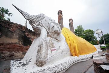 Sleep buddha statue in Wat Yai Chaimongkol, Ayutthaya, Thailand.