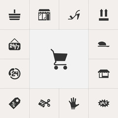 Set of 13 editable trade icons. Includes symbols such as discount, sale label, head-wear and more. Can be used for web, mobile, UI and infographic design.