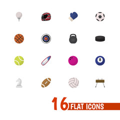 Set of 16 editable sport icons flat style. Includes symbols such as basketball, puck, surfing and more. Can be used for web, mobile, UI and infographic design.