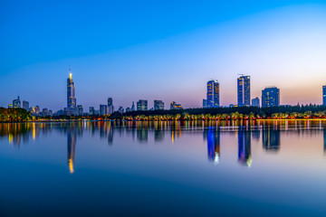 Nanjing Xuanwu Lake Financial District building landscape night view and city skyline