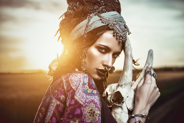 gypsy woman at sunset