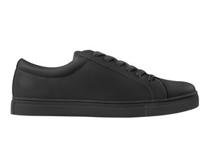 Black leather sneaker sport shoe side view isolated on white background