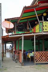 Colorful Rasta style cafe in Costa Rica Caribbean coast