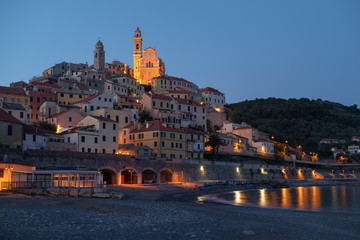 Italy, Cervo medieval village in the evening