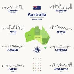 vector outline icona of Australia cities skylines