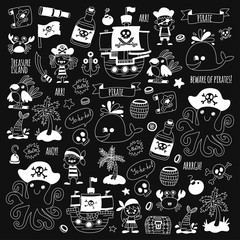 Pirate adventures. Vector icons for kids party. Boys and girls, small kindergarten children. Ship, parrots, treasure chest, octopus, crab Travel exploration