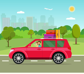 Suitcase, bags and other luggage in the  car. Vector flat style illustration