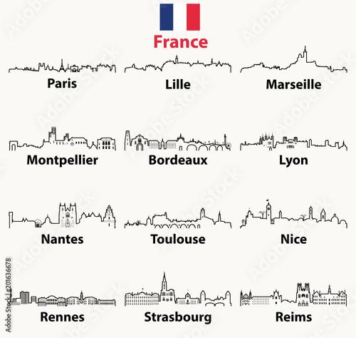 Fototapete vector outline icons of France cities skylines