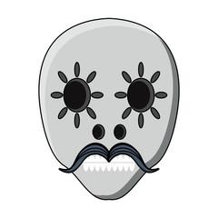 sugar skull with mustache icon over white background, colorful design. vector illustration